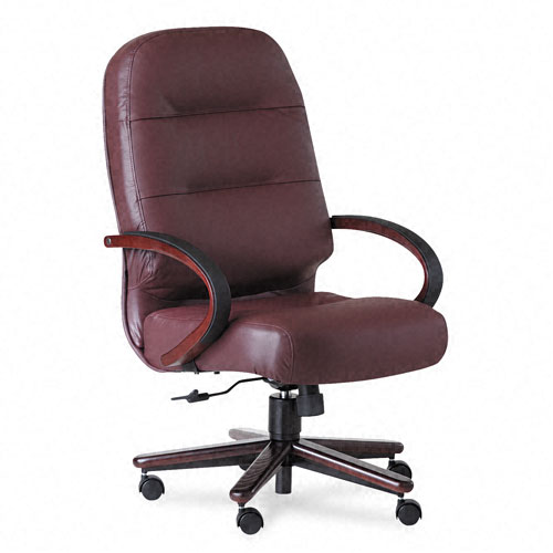 2190 Pillow-Soft Wood Series Executive High-Back Chair, Burg. Leather/Mahogany. Picture 1