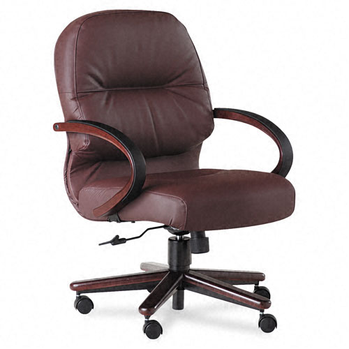 2190 Pillow-Soft Wood Series Mid-Back Chair, Burgundy Leather/Mahogany. Picture 1