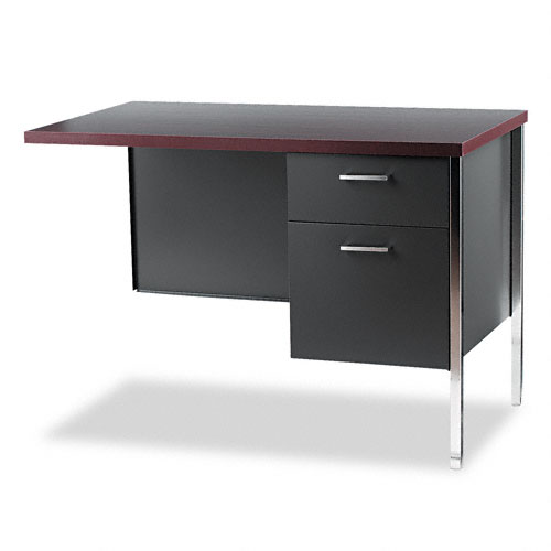 """34000 Series """"L"""" Workstation Return, Right, 42 x 24 x 29-1/2, Mahogany/Charcoal. Picture 1"""
