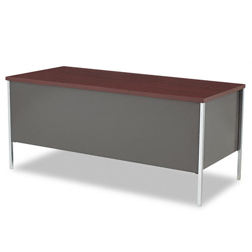 34000 Series Right Pedestal Desk, 66w x 30d x 29-1/2h, Mahogany/Charcoal. Picture 2