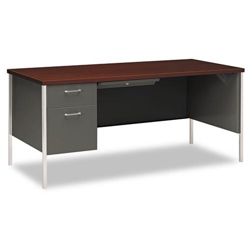 34000 Series Left Pedestal Desk, 66w x 30d x 29-1/2h, Mahogany/Charcoal. Picture 1