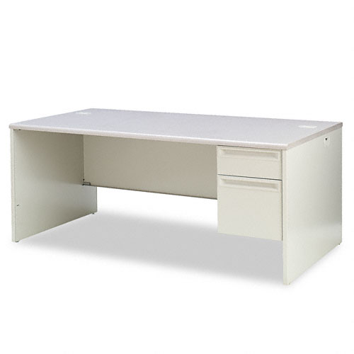 38000 Series Right Pedestal Desk, 72w x 36d x 29-1/2h, Gray Patterned/Light Gray. Picture 1