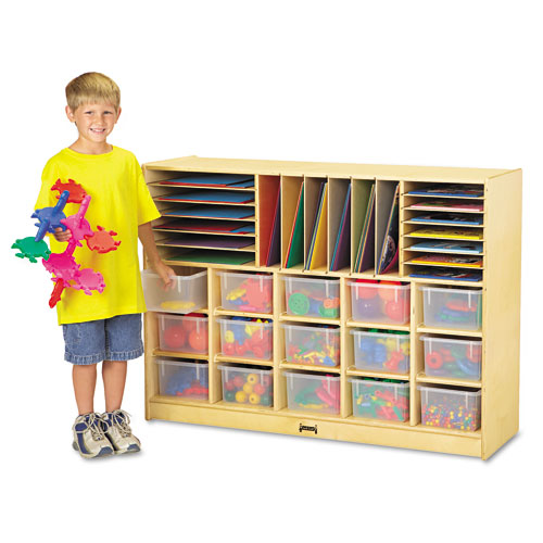 Sectional Mobile Cubbie, No Trays, 48w x 15d x 35-1/2h, Birch. Picture 1