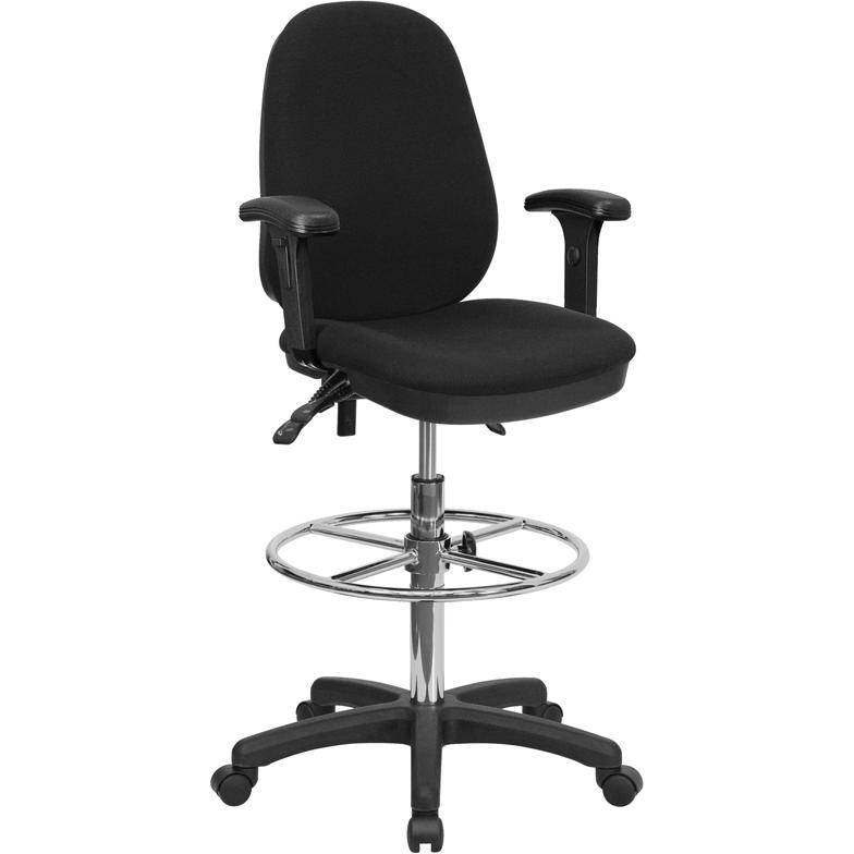 Black Multifunction Ergonomic Drafting Chair with  : kc b802m1kg arms gg from www.bisonoffice.com size 440 x 800 jpeg 99kB