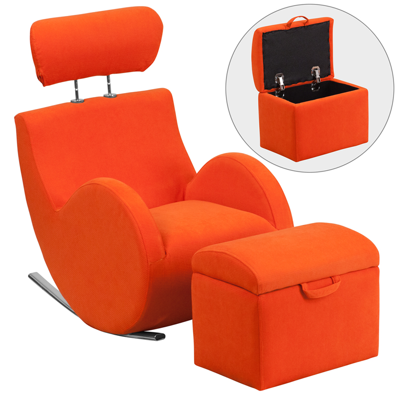 sc 1 st  Bison Office & HERCULES Series Orange Fabric Rocking Chair with Storage Ottoman