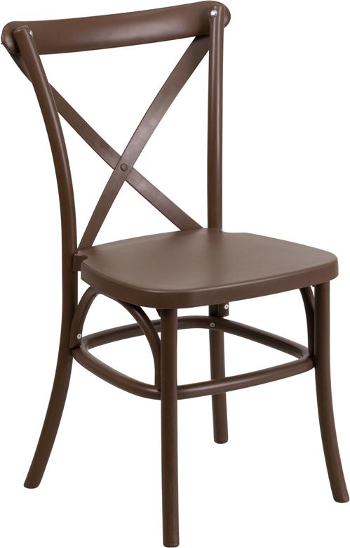 Genial HERCULES Series Chocolate Resin Indoor Outdoor Cross Back Chair With Steel  Inner Leg