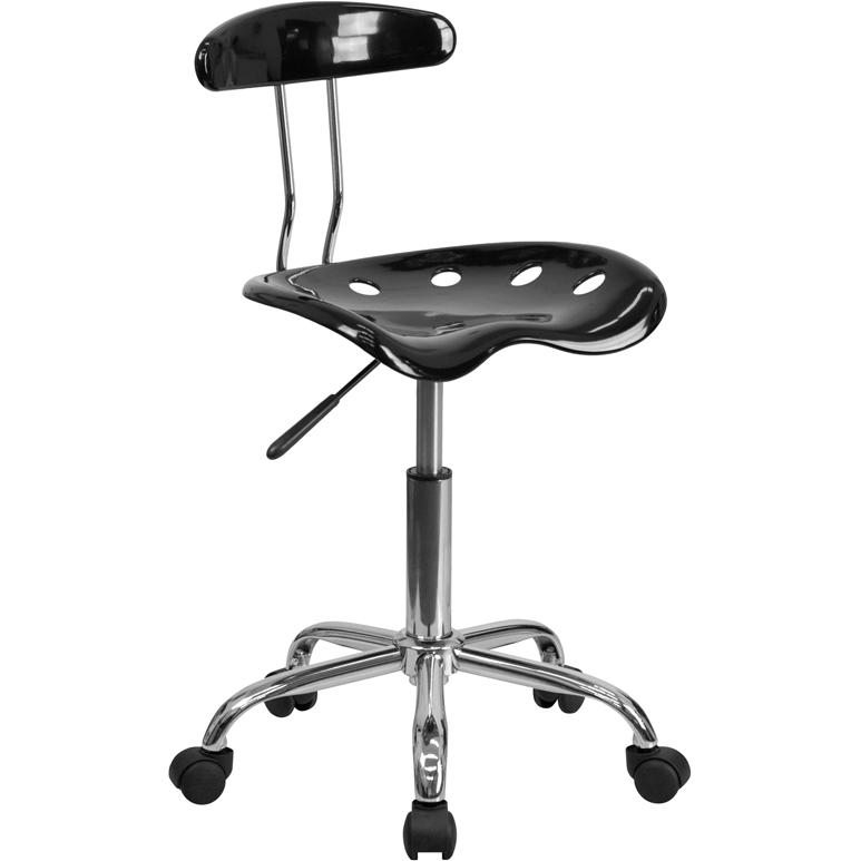 Tremendous Vibrant Black And Chrome Swivel Task Office Chair With Tractor Seat Dailytribune Chair Design For Home Dailytribuneorg