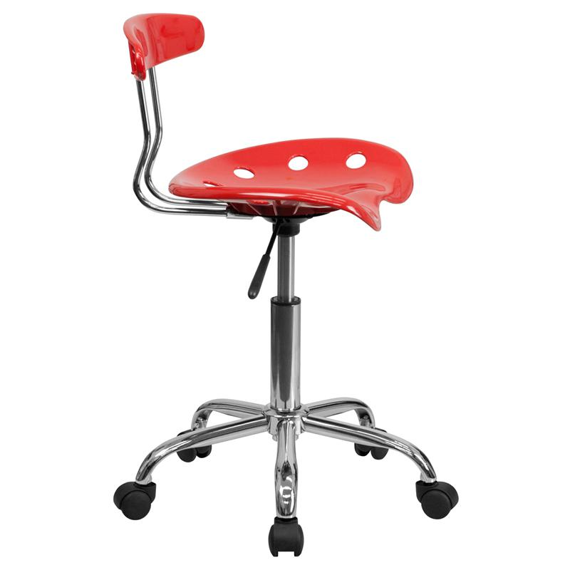 Vibrant Cherry Tomato and Chrome Swivel Task Office Chair with Tractor Seat. Picture 2