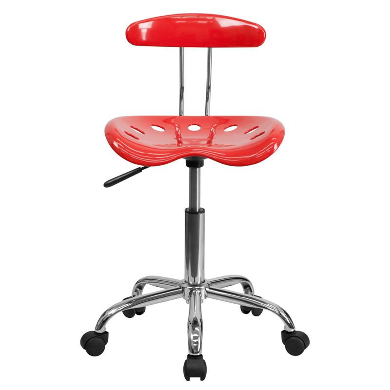 Vibrant Cherry Tomato and Chrome Swivel Task Office Chair with Tractor Seat. Picture 4