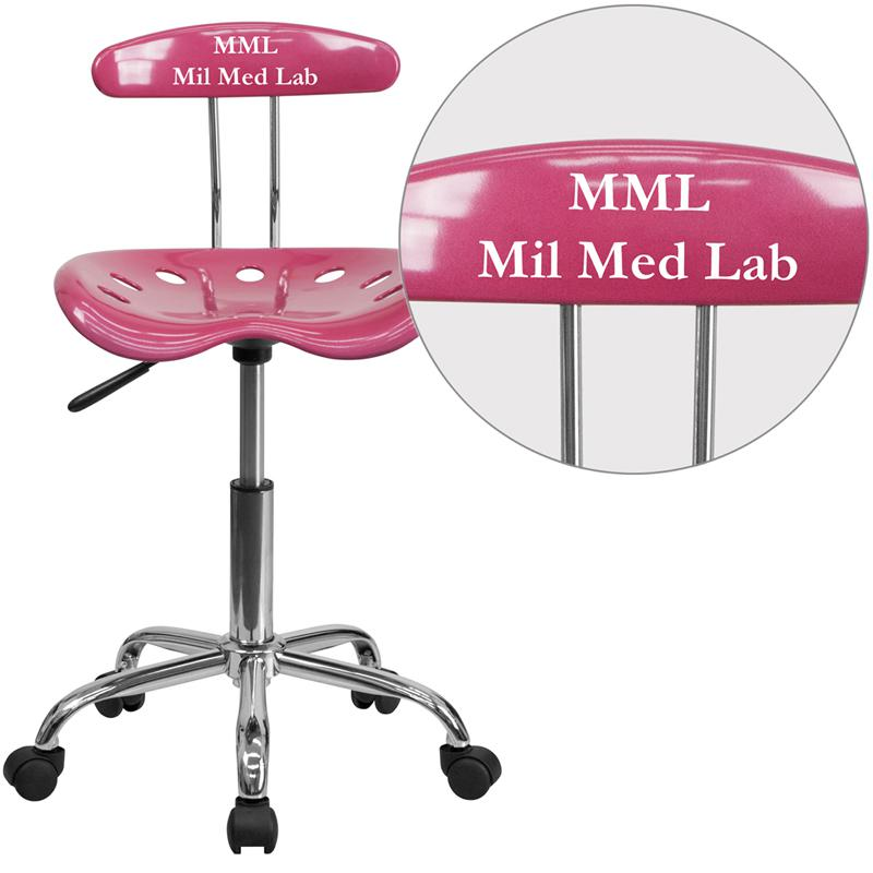 Personalized Vibrant Pink and Chrome Swivel Task Office Chair with Tractor Seat. Picture 1