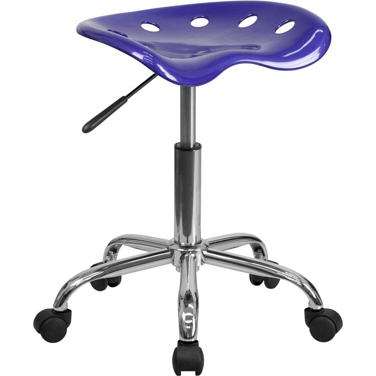 Vibrant Deep Blue Tractor Seat and Chrome Stool. Picture 1