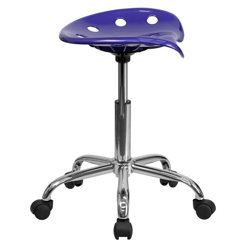 Vibrant Deep Blue Tractor Seat and Chrome Stool. Picture 2