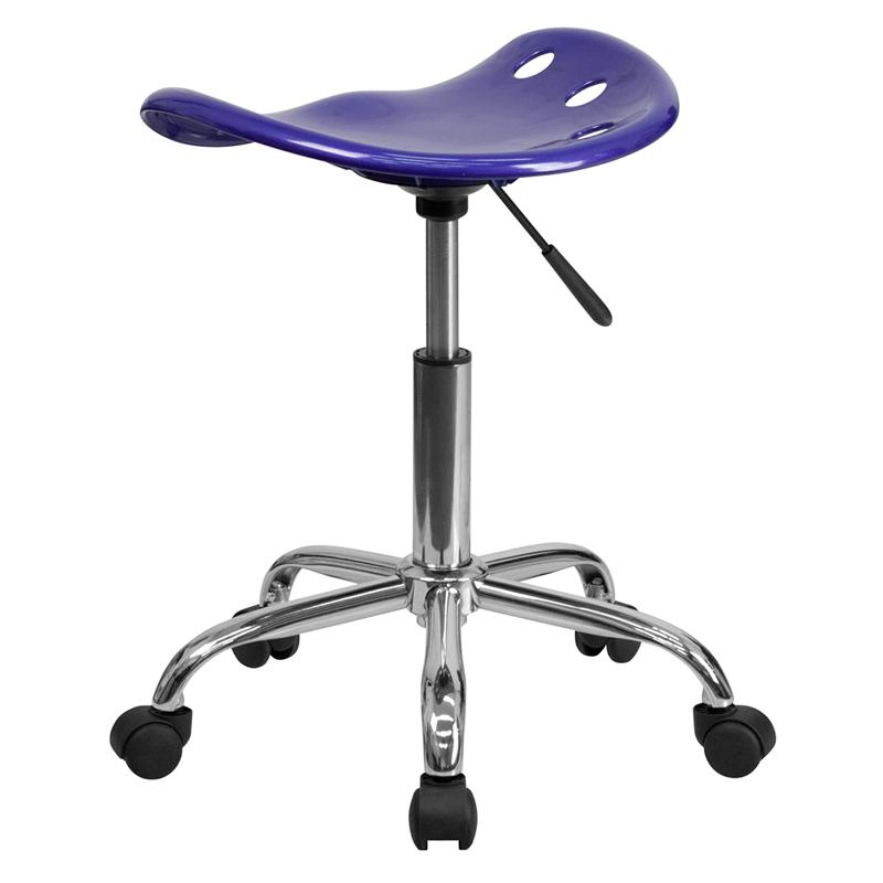 Vibrant Deep Blue Tractor Seat and Chrome Stool. Picture 3