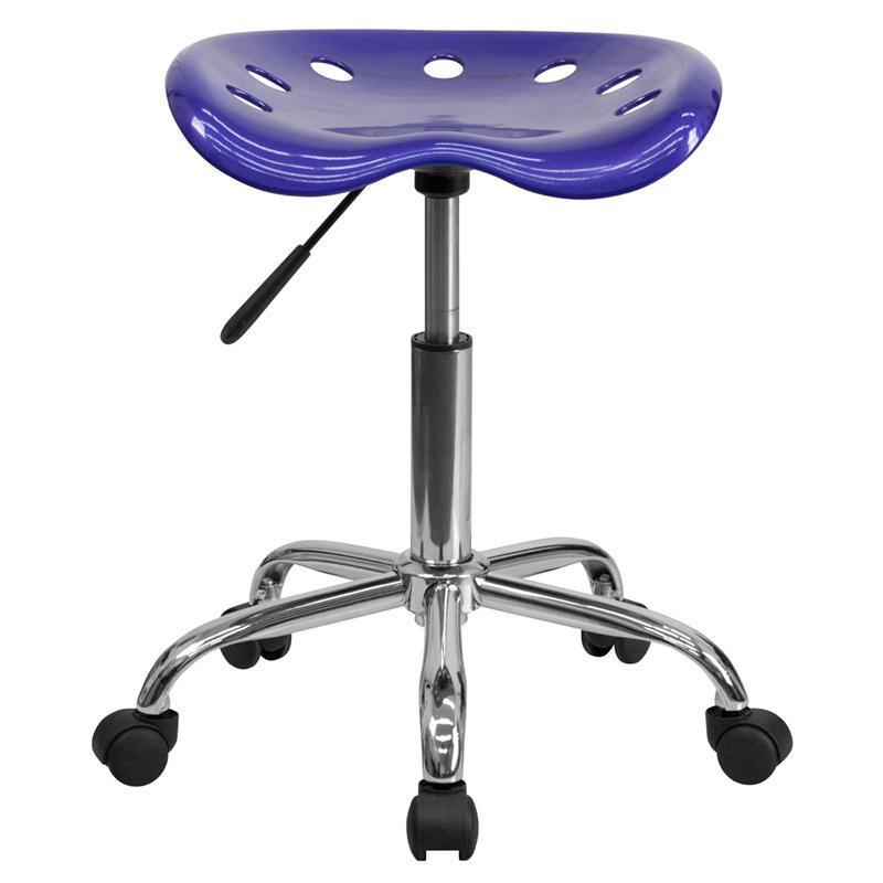 Vibrant Deep Blue Tractor Seat and Chrome Stool. Picture 4