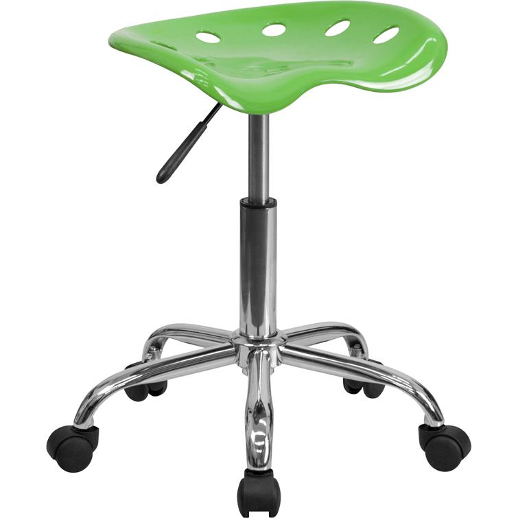 Vibrant Spicy Lime Tractor Seat and Chrome Stool. Picture 1