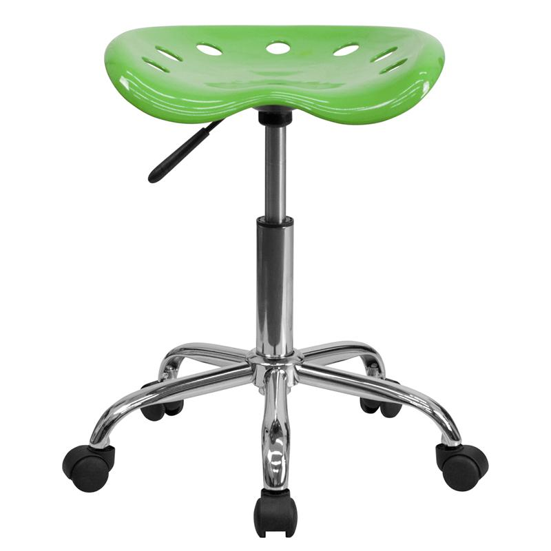 Vibrant Spicy Lime Tractor Seat and Chrome Stool. Picture 4