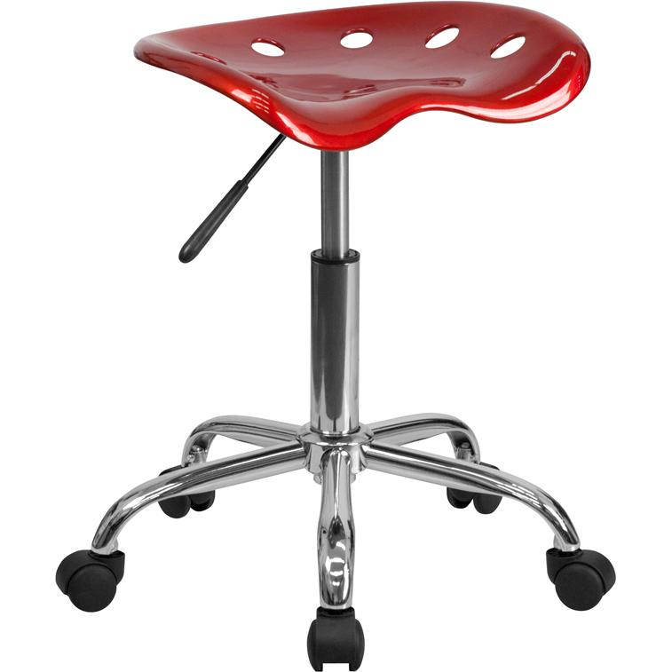 Vibrant Wine Red Tractor Seat and Chrome Stool. Picture 1