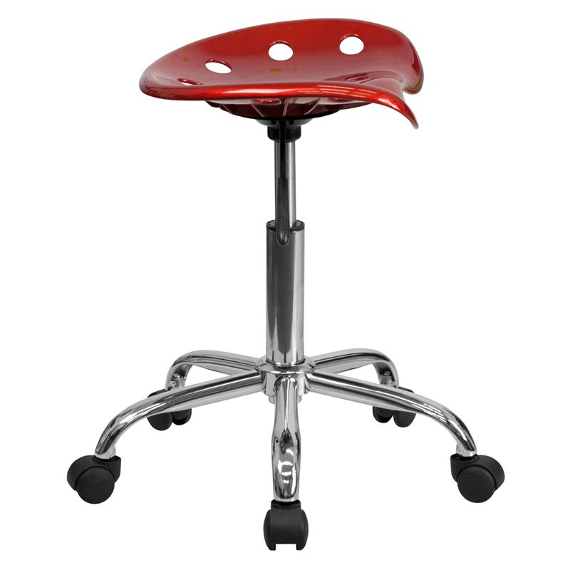 Vibrant Wine Red Tractor Seat and Chrome Stool. Picture 2