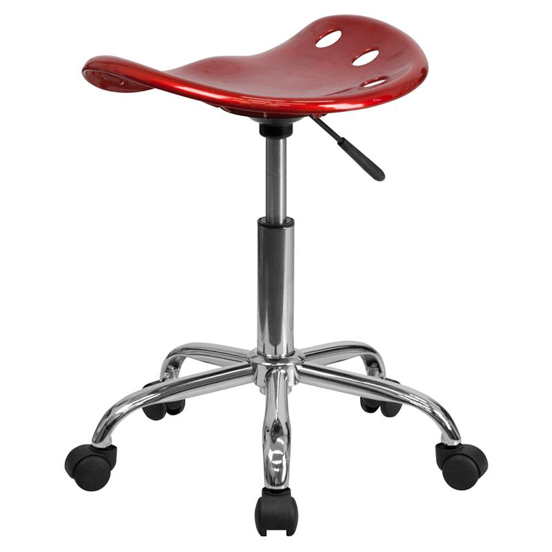Vibrant Wine Red Tractor Seat and Chrome Stool. Picture 3