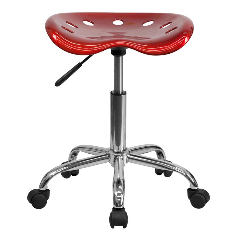 Vibrant Wine Red Tractor Seat and Chrome Stool. Picture 4