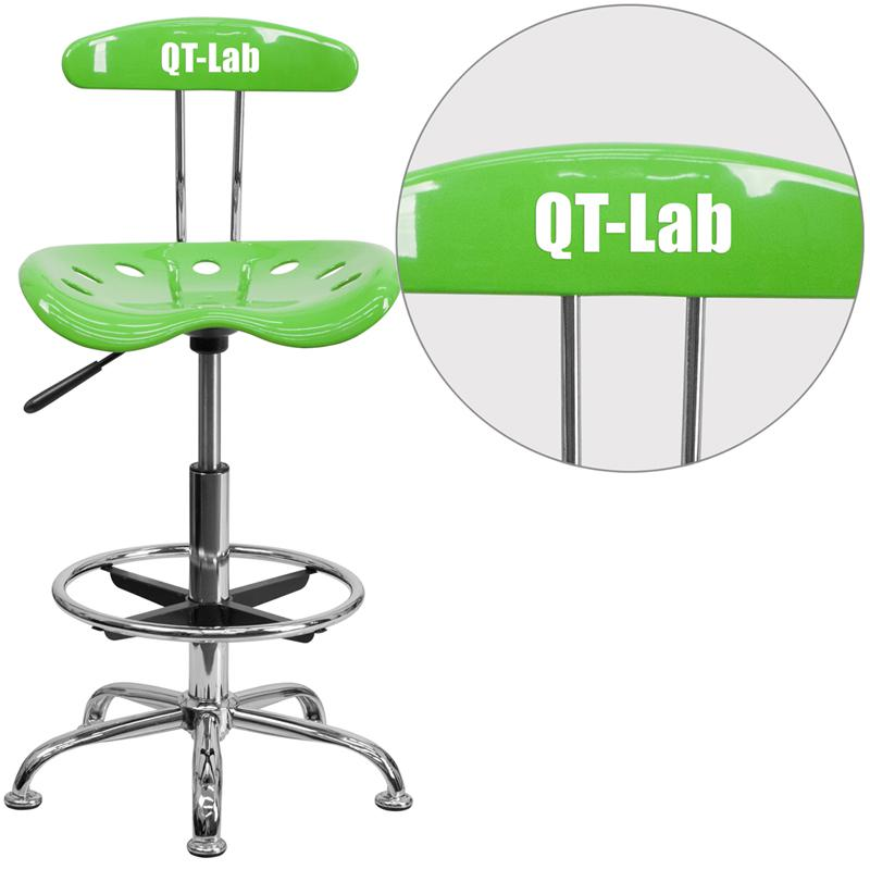 Personalized Vibrant Apple Green and Chrome Drafting Stool with Tractor Seat. Picture 1