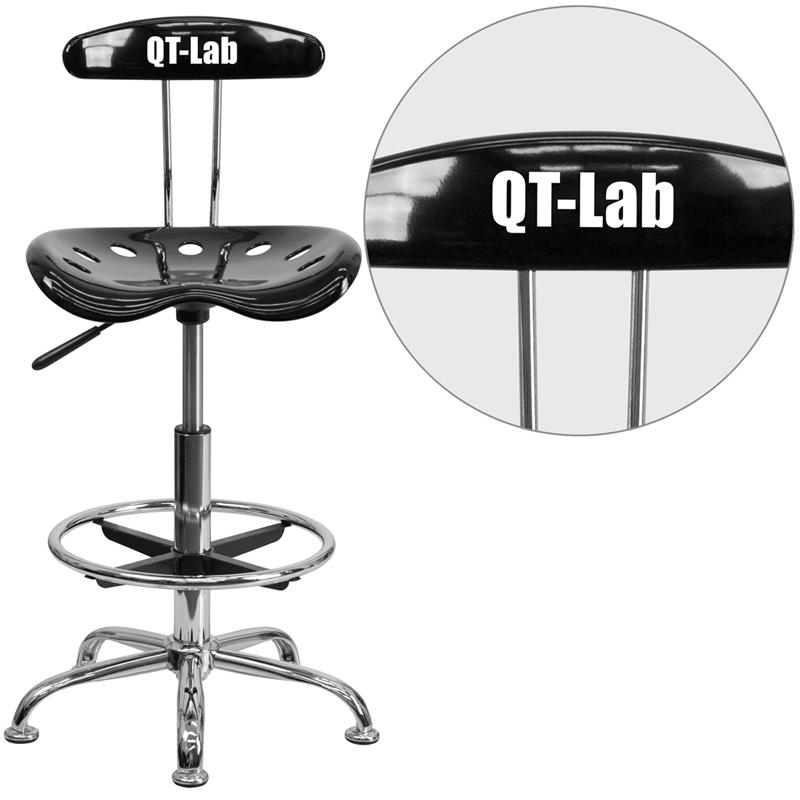 Personalized Vibrant Black and Chrome Drafting Stool with Tractor Seat. Picture 1