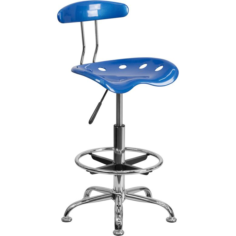 Vibrant Bright Blue and Chrome Drafting Stool with Tractor Seat. Picture 1