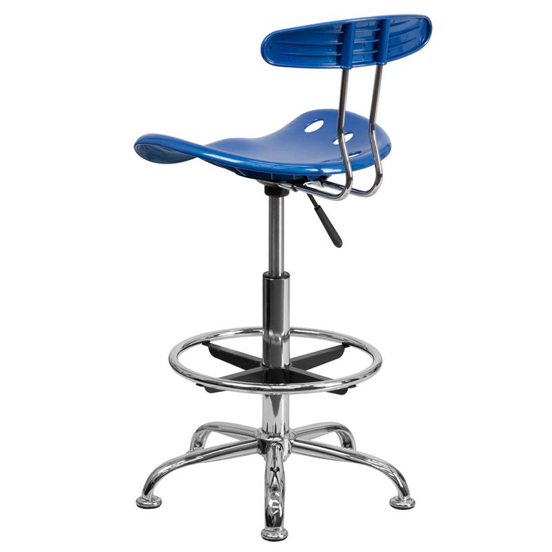 Vibrant Bright Blue and Chrome Drafting Stool with Tractor Seat. Picture 3