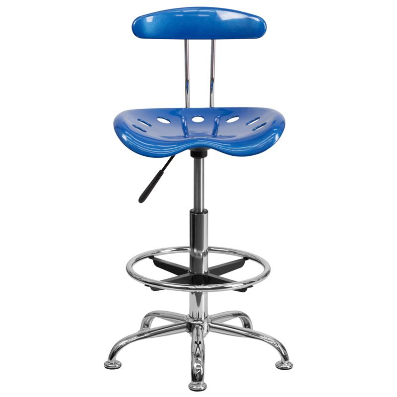 Vibrant Bright Blue and Chrome Drafting Stool with Tractor Seat. Picture 4