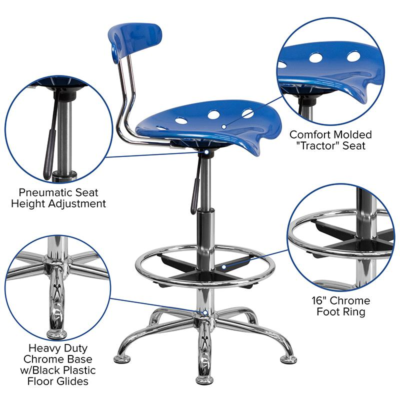 Vibrant Bright Blue and Chrome Drafting Stool with Tractor Seat. Picture 5
