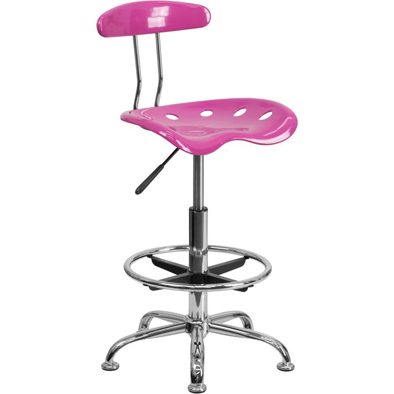 Vibrant Candy Heart and Chrome Drafting Stool with Tractor Seat. Picture 1
