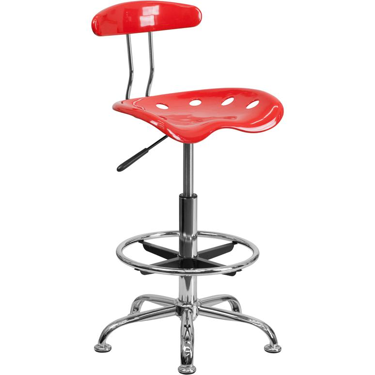 Vibrant Cherry Tomato and Chrome Drafting Stool with Tractor Seat. Picture 1