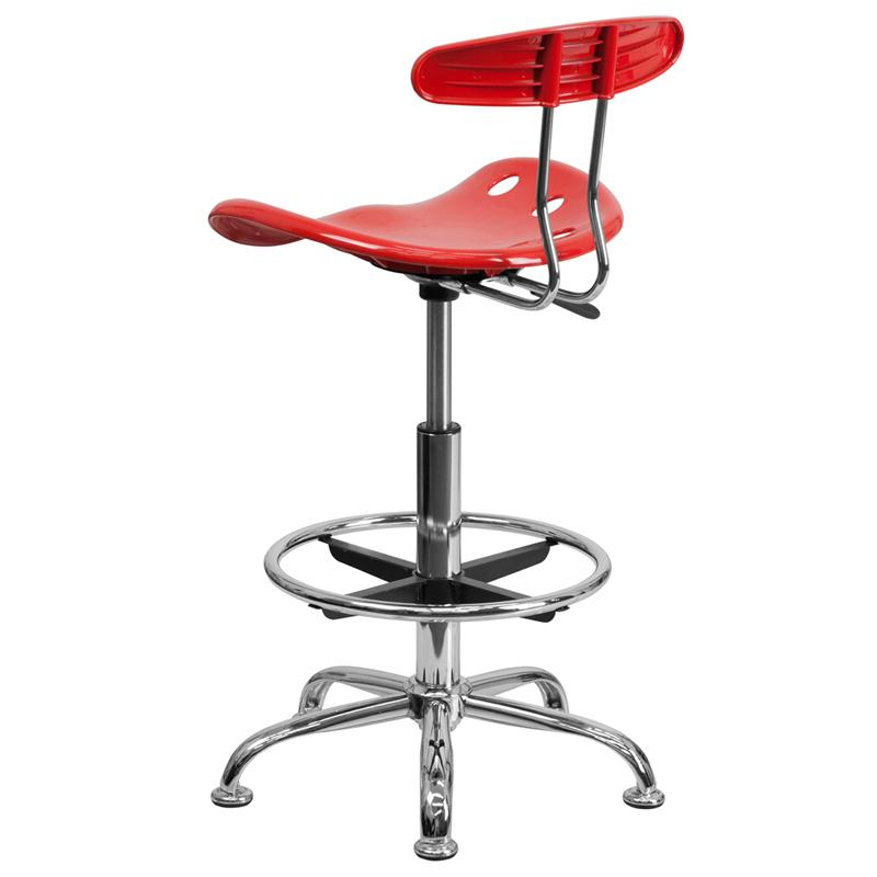 Vibrant Cherry Tomato and Chrome Drafting Stool with Tractor Seat. Picture 3