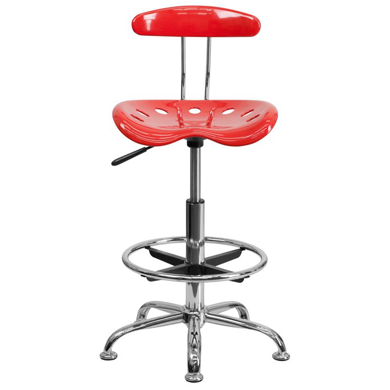 Vibrant Cherry Tomato and Chrome Drafting Stool with Tractor Seat. Picture 4