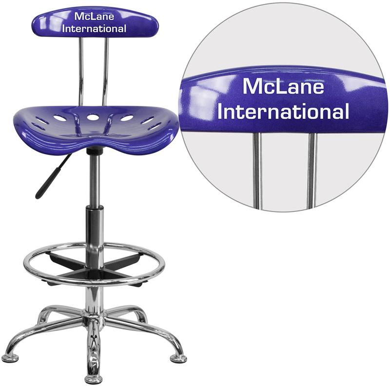 Personalized Vibrant Deep Blue and Chrome Drafting Stool with Tractor Seat. Picture 1