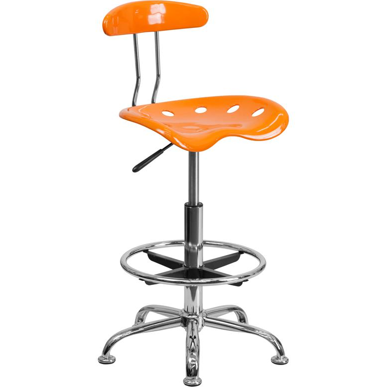 Vibrant Orange and Chrome Drafting Stool with Tractor Seat. Picture 1