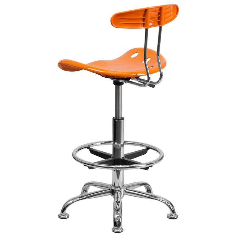 Vibrant Orange and Chrome Drafting Stool with Tractor Seat. Picture 3