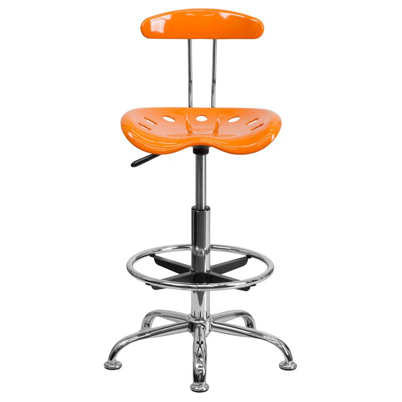 Vibrant Orange and Chrome Drafting Stool with Tractor Seat. Picture 4