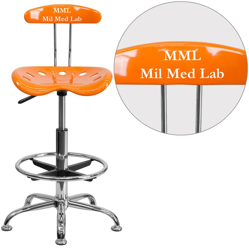 Personalized Vibrant Orange and Chrome Drafting Stool with Tractor Seat. Picture 1