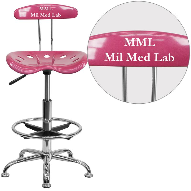 Personalized Vibrant Pink and Chrome Drafting Stool with Tractor Seat. Picture 1