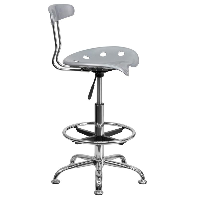 Tractor Seat Desk Chair : Vibrant silver and chrome drafting stool with tractor seat