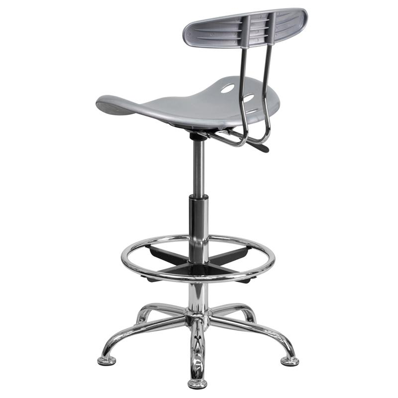 Vibrant Silver And Chrome Drafting Stool With Tractor Seat