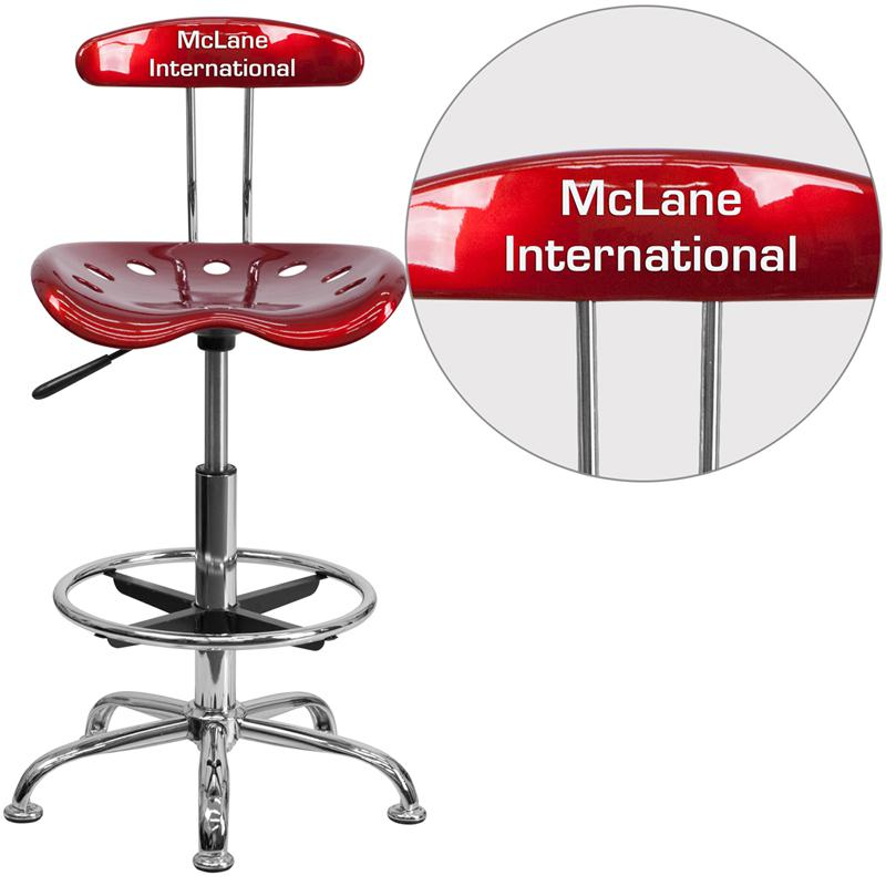Personalized Vibrant Wine Red and Chrome Drafting Stool with Tractor Seat. Picture 1