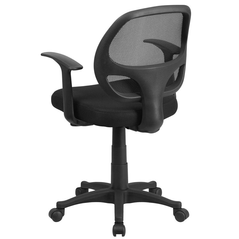 mid back black mesh swivel task chair with arms
