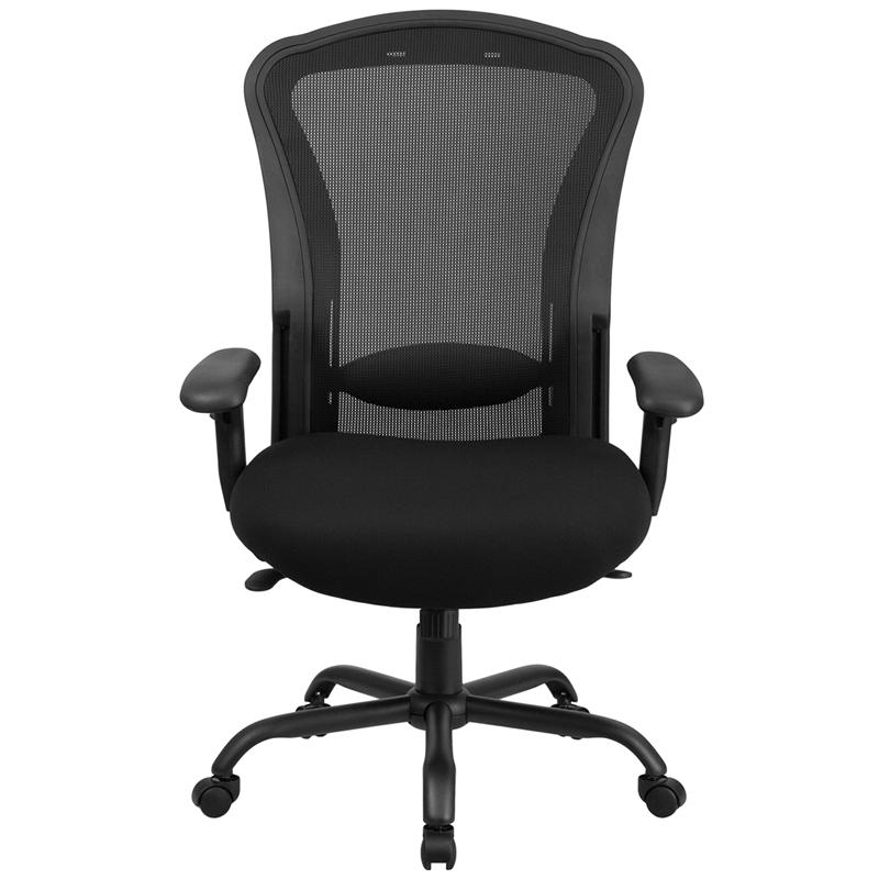 big tall 400 lb capacity black mesh multi functional swivel chair