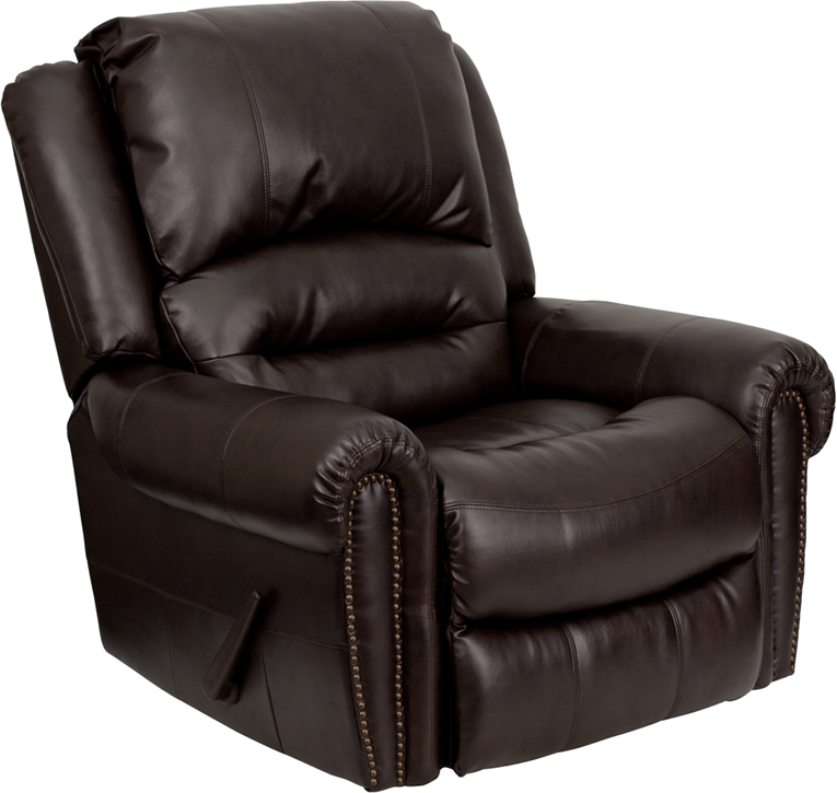 Plush Brown Leather Lever Rocker Recliner With Brass