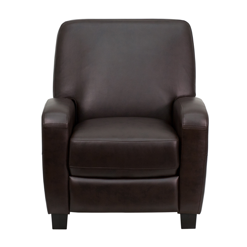 Brown Leather Push Back Recliner