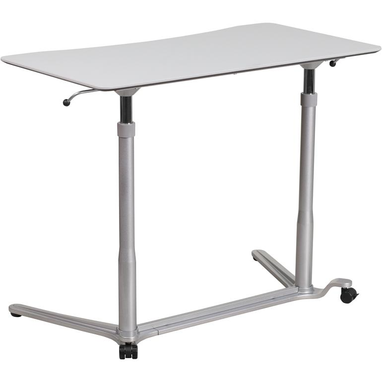 Sit-Down, Stand-Up Light Gray Computer Ergonomic Desk with 37.375''W Top (Adjustable Range 29'' - 40.75''). Picture 1