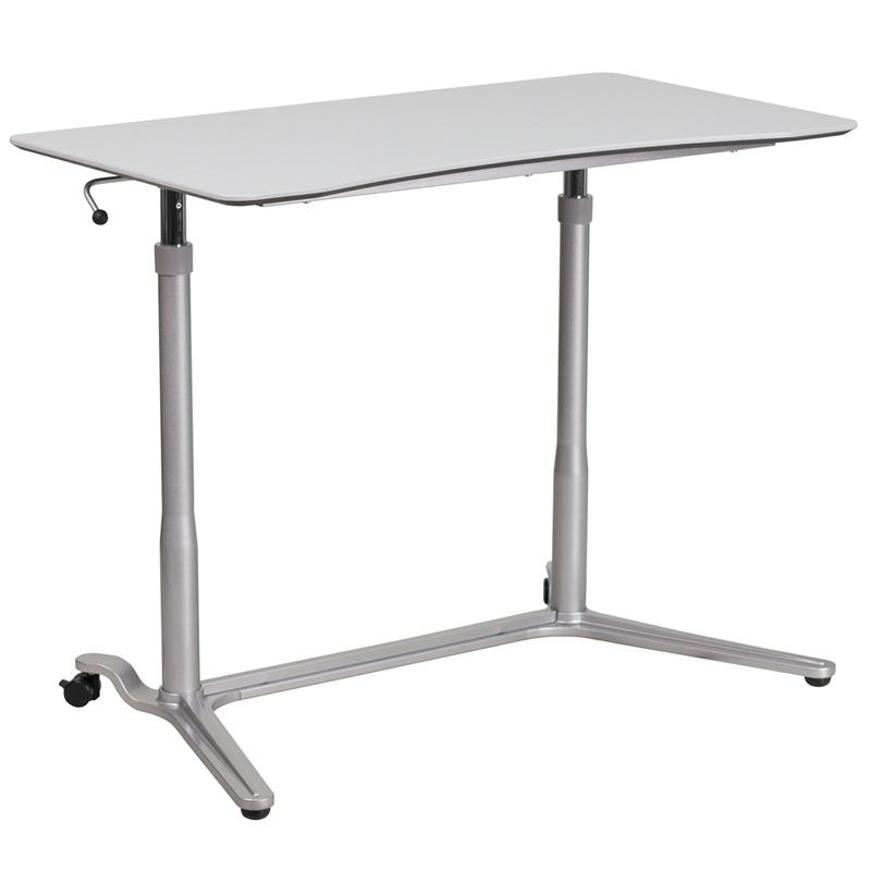 Sit-Down, Stand-Up Light Gray Computer Ergonomic Desk with 37.375''W Top (Adjustable Range 29'' - 40.75''). Picture 2