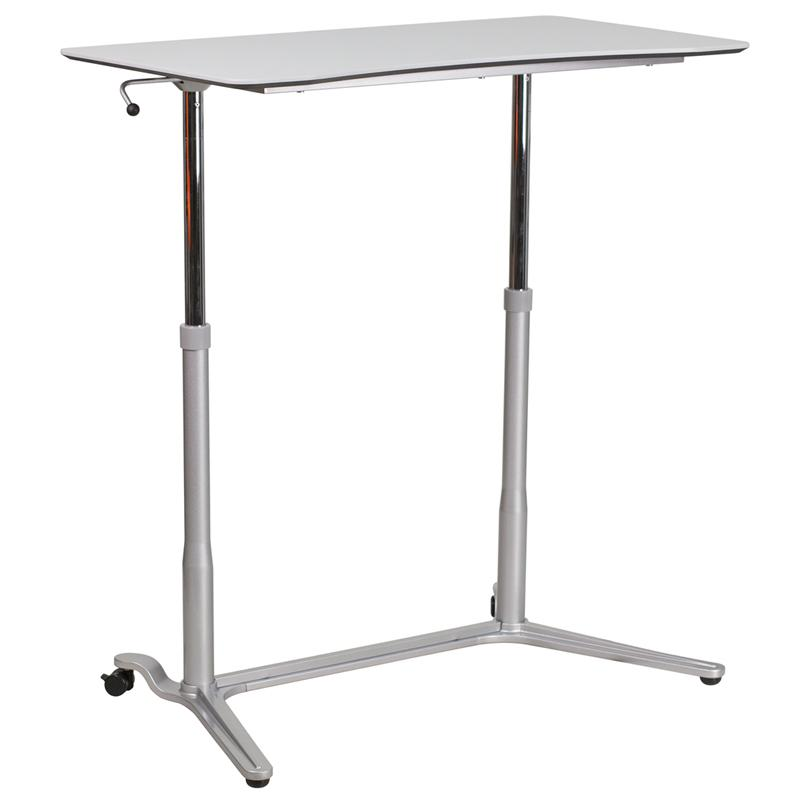 Sit-Down, Stand-Up Light Gray Computer Ergonomic Desk with 37.375''W Top (Adjustable Range 29'' - 40.75''). Picture 3